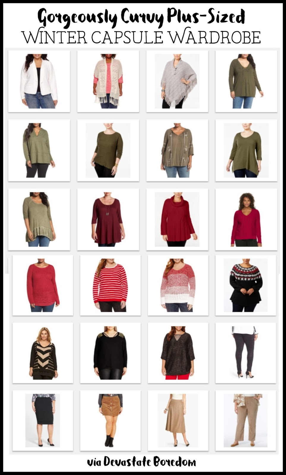 24 items = 165+ outfits, whaaaaaat? These mix-and-match outfits are so flattering for ladies with curves! Plus-size women winter capsule wardrobe ideas and inspiration -- colorful style, minimalist fashion, sample cold-weather French closet for curvy ladies!  Cozy plus-sized outfits with balanced bases and layering! via Devastate Boredom