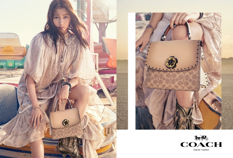 Guan Xiaotong poses for the Coach spring-summer 2019 campaign