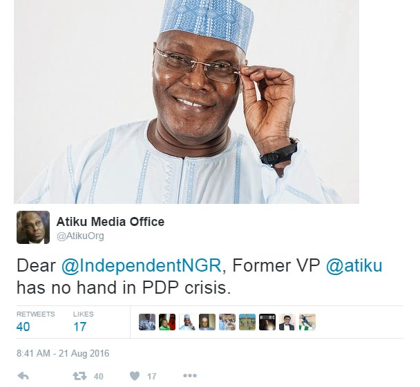 Atiku denies role in PDP crisis