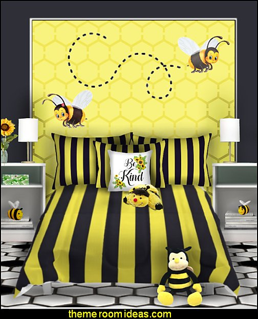 bumble bee bedroom decorating bumble bee decor  bumble bee bedrooms - Bumble bee decor - Honey bee decor - decorating bumble bee home decor - Bumble Bee themed nursery - bee wallpaper mural decals - Honeycomb Stencil - hexagonal stencils - bees in springtime garden bedroom -  bee themed nursery - black yellow bedroom ideas