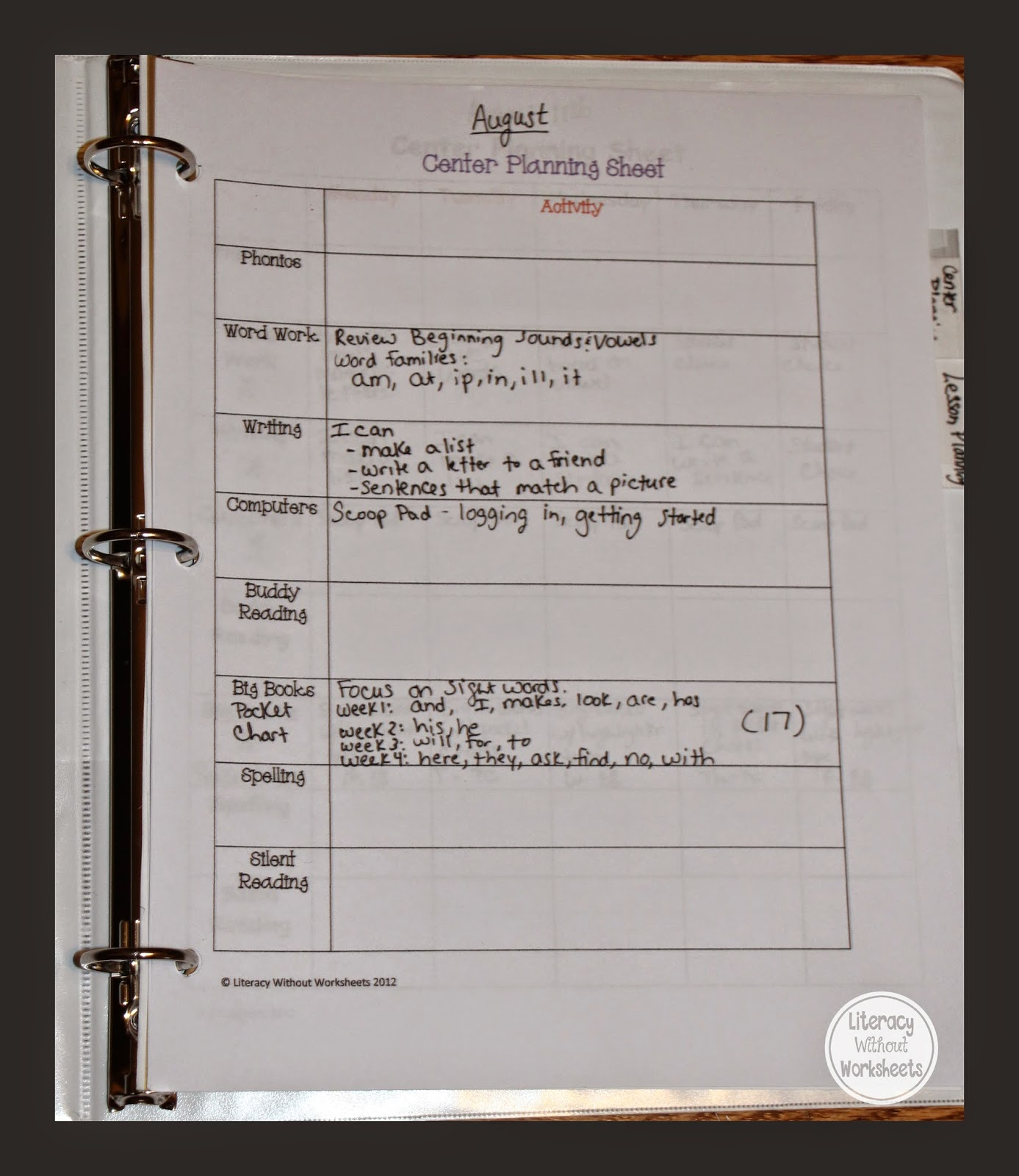 Guided Reading Binder Getting Organized Before School