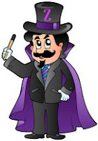 Purple kids magician cartoon logo