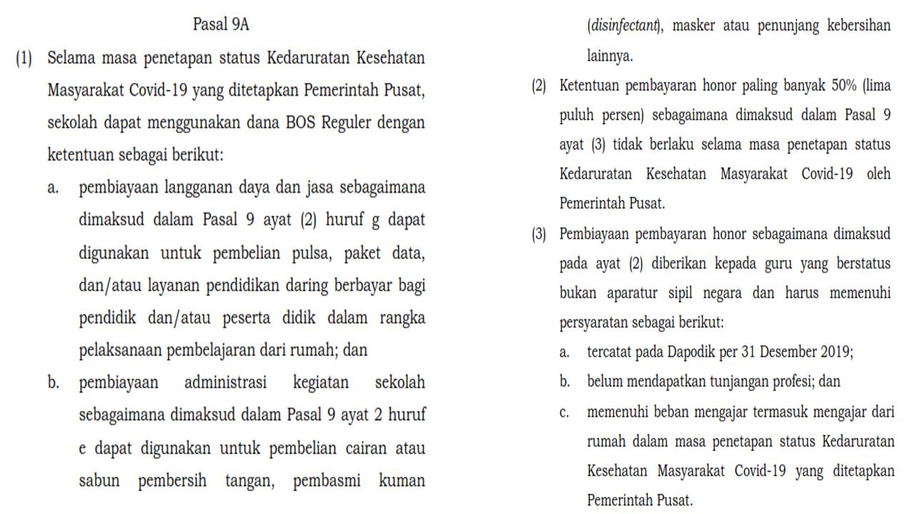 Pasal 9A Permendikbud No. 19 Tahun 2020 Tidak Permanen