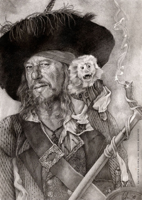 Captain Barbossa - pencil on paper, A3, on the basis of movie poster