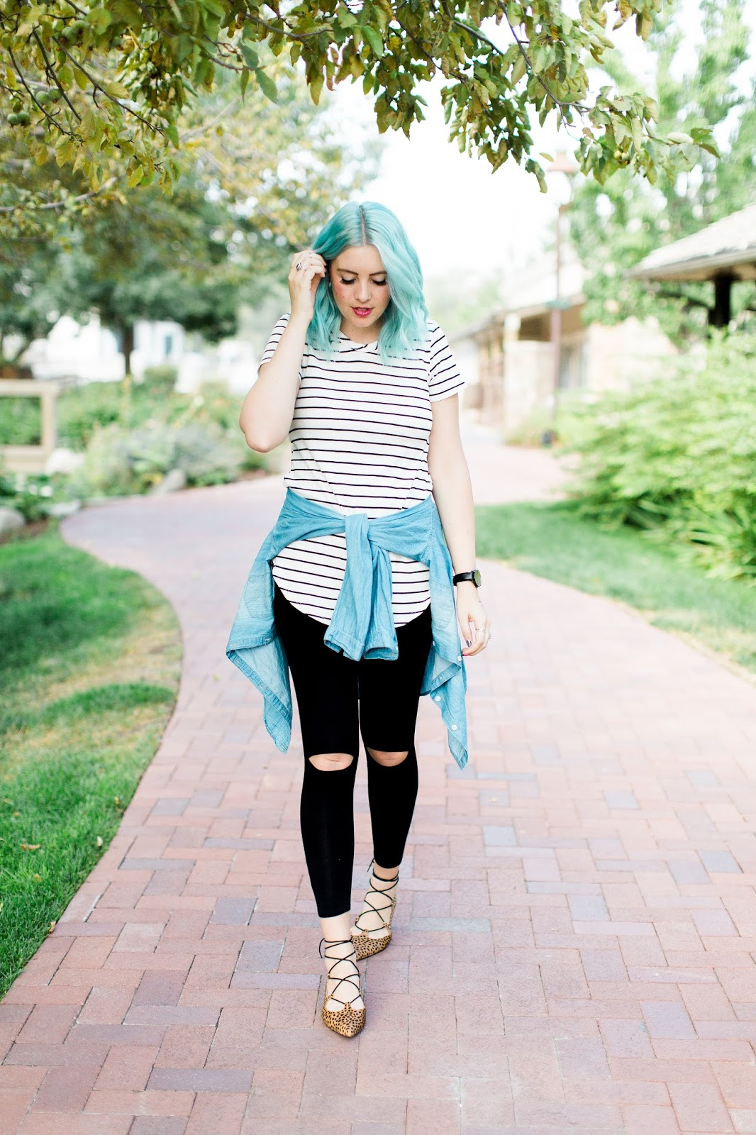 Layering, Stripes, Blue Hair