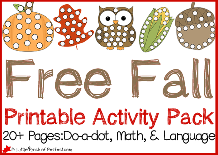 Free Fall Printable Activity Pack Do A Dot Pages Math And Language