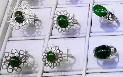 925 silver rings with jade stone and great setting