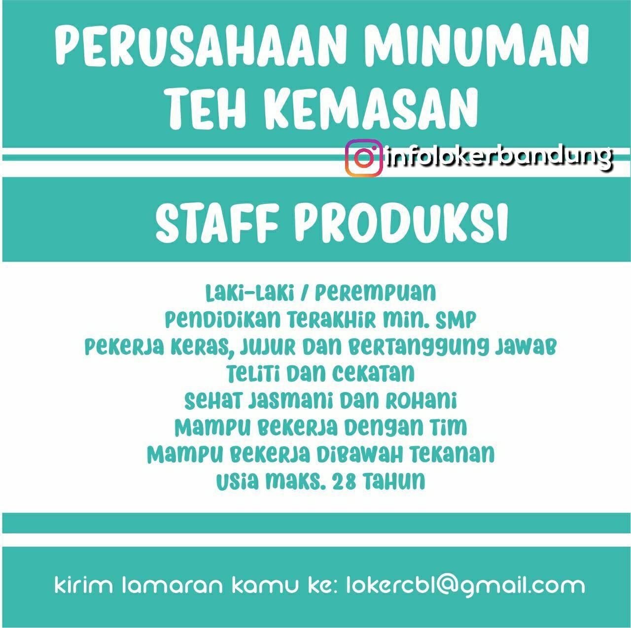 Lowongan Kerja Perusahaan Minuman Teh Kemasan Bandung Desember 2017