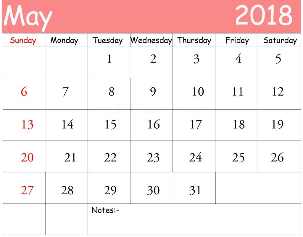 empty calendars 2018