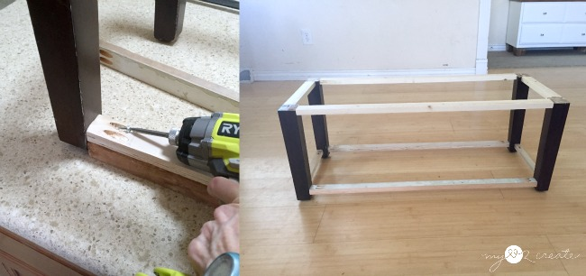 adding bottom shelf supports for storage bench