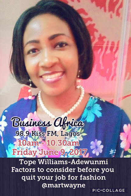 Join me at 10am tomorrow, 9 June on 98.9 Kiss FM Lagos.