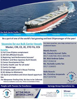 2207 Seaman jobs positon hiring crew officer, engineer, rating join on bulk carrier ship deployment 2019.