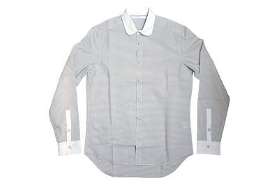 NIT(ニト)ボーダー丸襟クレリックシャツ light gray