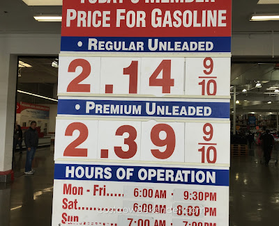 Costco gas for March 8, 2016 at South San Francisco, CA (airport location)
