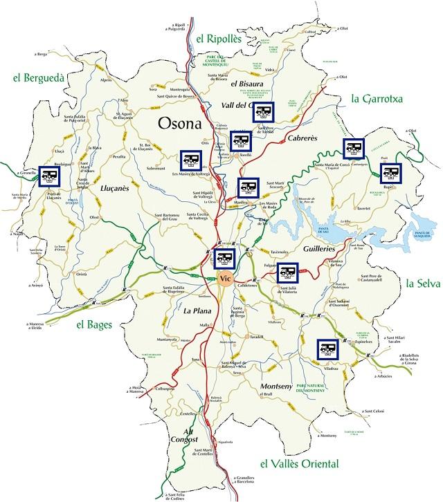 Mapa de situació de les àrees d'autocaravanes