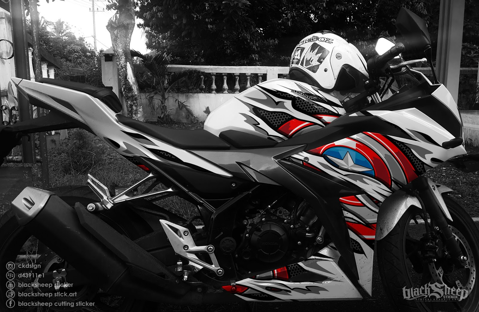 Cutting Sticker Motor Samurai X The Stickers Source Honda Cbr150r Facelift Captain America Blacksheep
