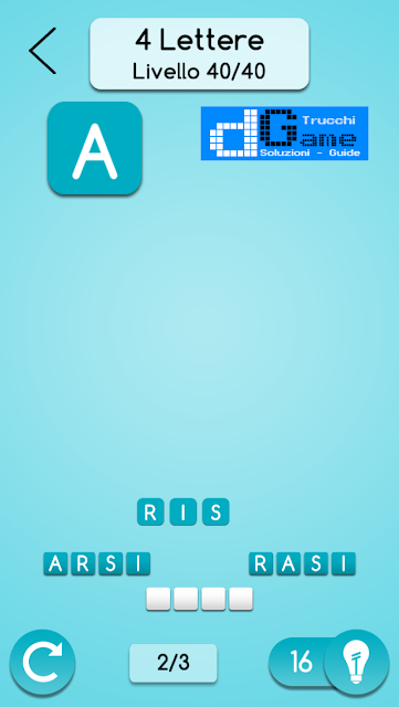 AnagrApp soluzione pacchetto 2 (4 lettere) livelli 1-40