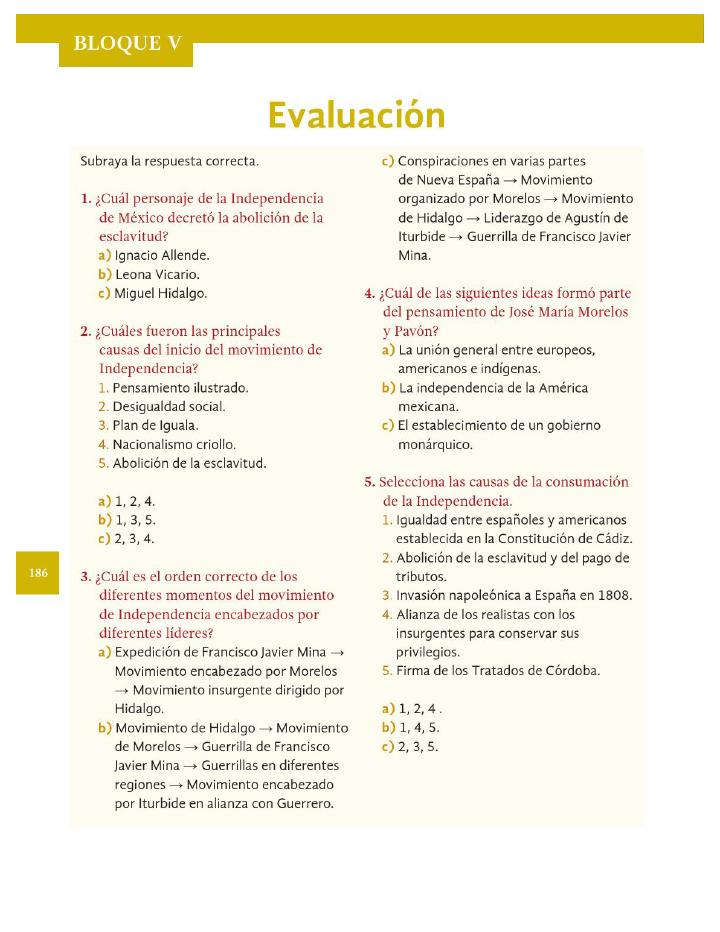 Evaluación - Historia 4to Bloque 5 ~ Apoyo Primaria