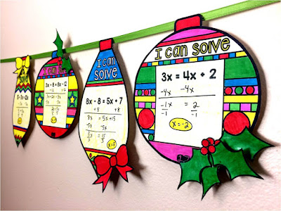 solving equations math pennant ornaments for Christmas and winter holidays