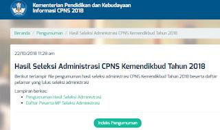 pengumuman hasil seleksi administrasi CPNS Kemendikbud Tahun 2018