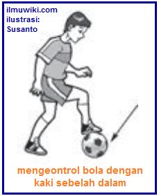 Gambar mengontrol bola dengan kaki sebelah dalam