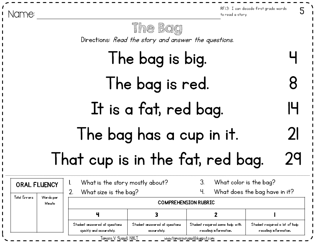 Introducing: Kindergarten Fluency - Mrs. Russell's Room [ 816 x 1056 Pixel ]