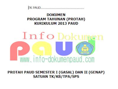 Contoh Prota Promes PAUD/TK Kurikulum 2013 Tahun Pelajaran 2016/2017