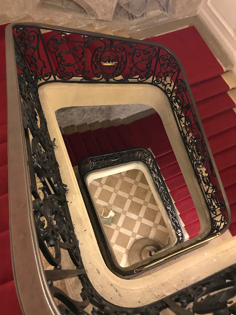 Staircase and red carpet at the Pállfy Palace in Bratislava in Slovakia