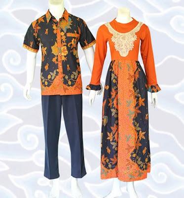 Model Gamis Batik Sarimbit elegan