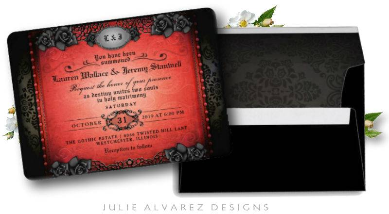halloween wedding invitation with matching envelope