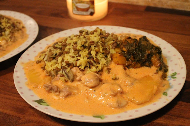 coconut & mango chicken with aloo sagg & lentil rice made with canned foods