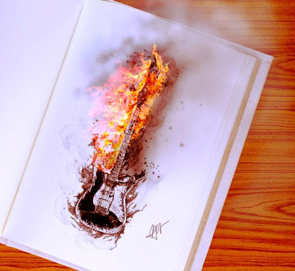 Фотоколлаж с огнём в Фотошопе