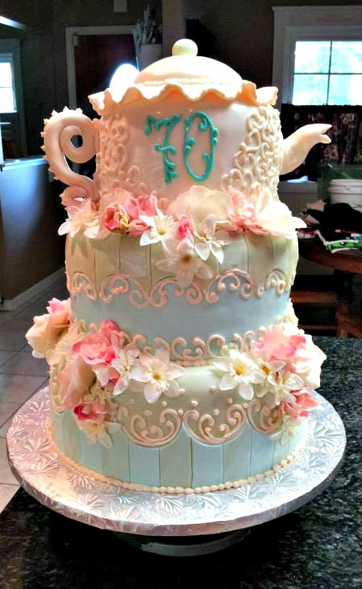 70th Teacup Tier Birthday Cake