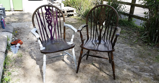 Set of 2 Paint Splat Dining Chairs