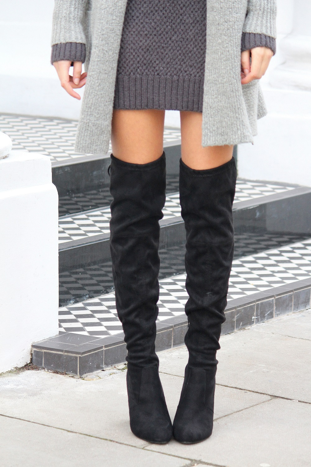black over the knee boots from public desire