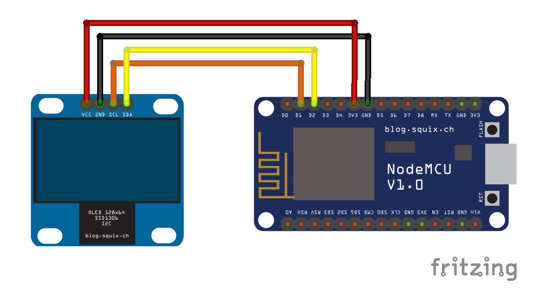 Arduino-er: esp8266-OLED, esp8266-Arduino library for I2C