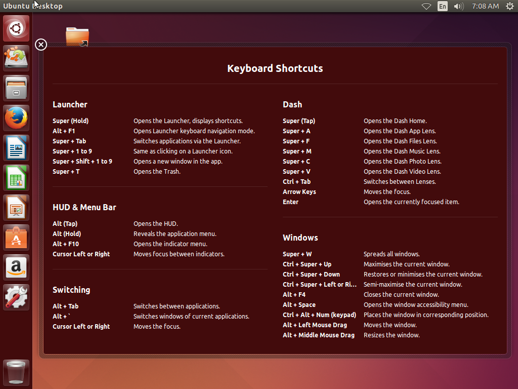Ubuntu 14.04 Turst Tahr Screen Shot of Unity on Startup