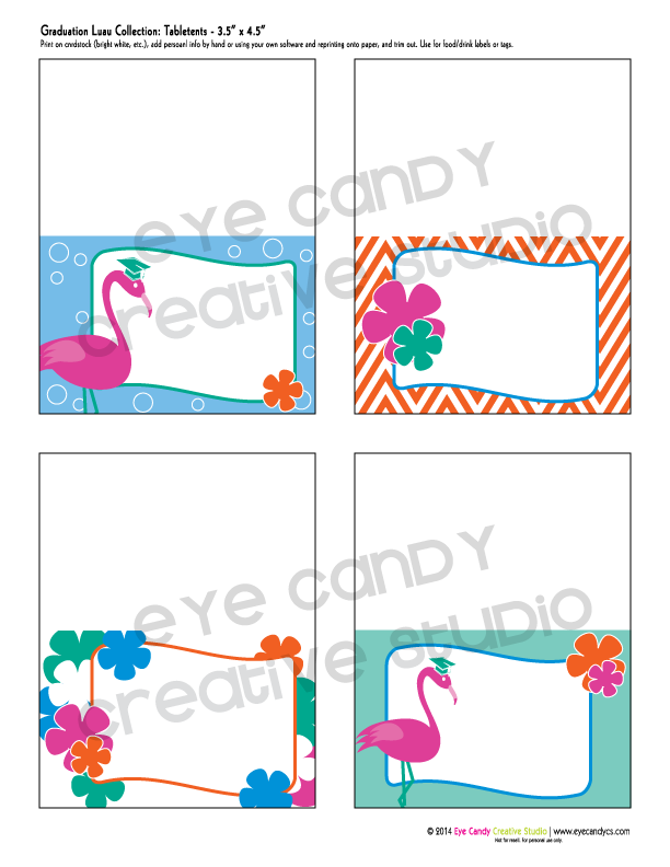 graduation labels, graduation luau, flamingos, luau decor, chevron
