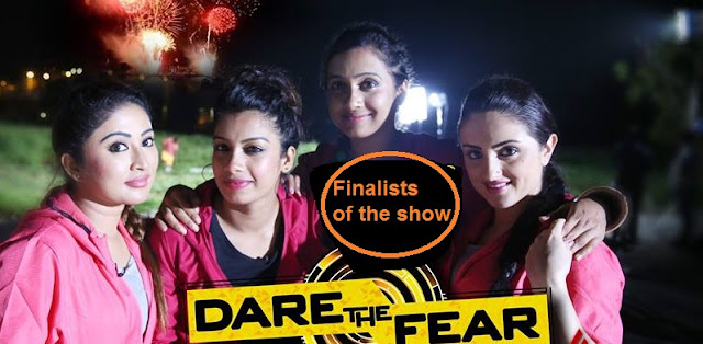 Winners of Dare the Fear Show -Archana Susheelan Poojitha Menon, Dilsha Prasannan,  and Paris Laxmi