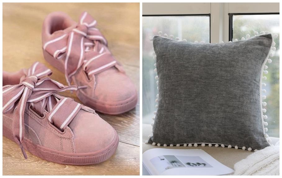 sapatilhas cor de rosa e almofada pompons da gamiss