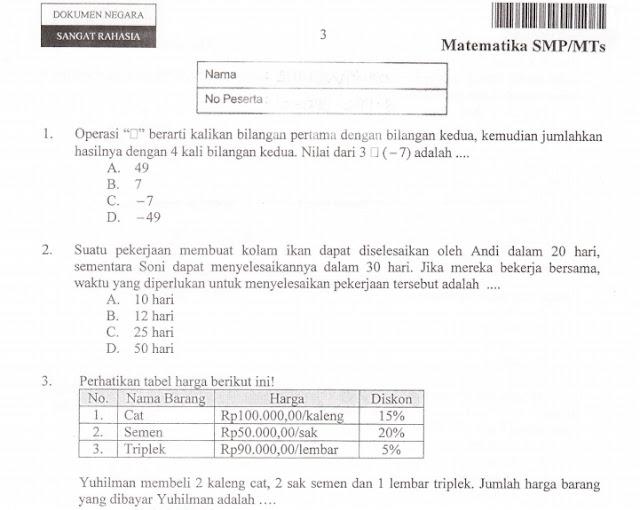Download Soal Ujian Nasional (UN) Matematika SMP/MTs Tahun 2016