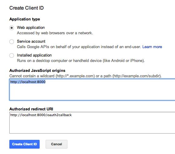 Google Drive API invalid_client no registered origin error