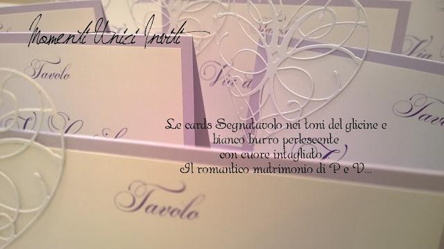 segnatavolo I segnatavolo romantici di P&VCards Tableau Colore Bianco Colore Lilla Segnatavolo Tema cuori