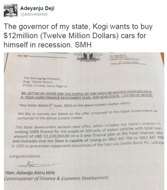 Kogi governor Yahaya Bello splashes N5bn borrowed funds on 109 cars?