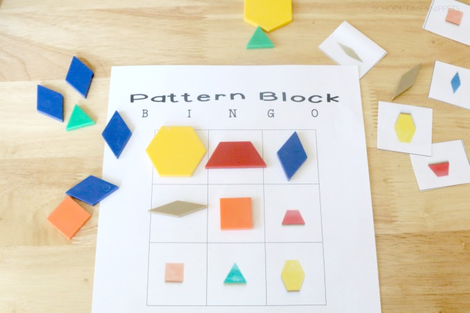 graphic about Printable Pattern Blocks called Practice Blocks BINGO: Printable Activity for Little ones Faculty Season
