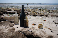 Bottles on beach