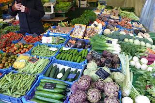 Puesto de verduras de Viktualienmarkt.