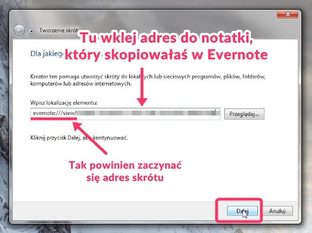 jak powinien wyglądać link do notatki w Evernote aby można było zrobić skrót na pulpicie