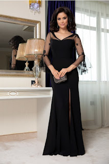 Rochie marime mare lunga neagra cu maneci din tull brodat