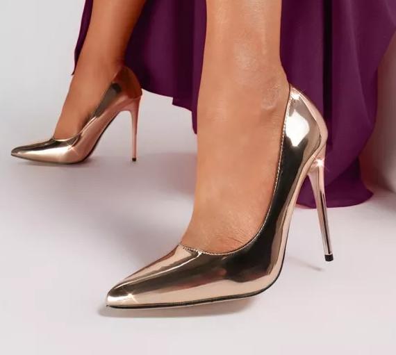 Pantofi stiletto lacuiti de ocazii Champagne